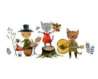 Μια ομάδα γατών που τραγουδούν ένα τραγούδι και που παίζουν μουσικό το φθινόπωρο οργάνων διανυσματική απεικόνιση