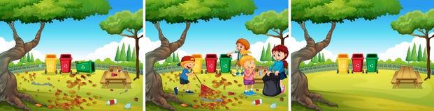 Μια ομάδα εθελοντικών παιδιών που καθαρίζουν το πάρκο διανυσματική απεικόνιση