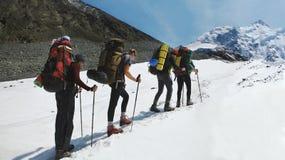 Μια ομάδα ορεσιβίων αναρριχείται στην κορυφή ενός χιονοσκεπούς βουνού Οι ορειβάτες στην κορυφογραμμή αιχμών βουνών στοκ εικόνα