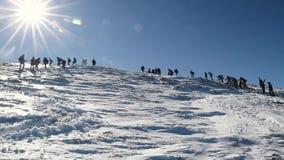 Μια ομάδα τουριστών πηγαίνει στο βουνό κατά μήκος ενός χιονώδους δρόμου φιλμ μικρού μήκους
