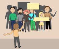 Μια ομάδα ανθρώπων στη συνάθροιση με τα εμβλήματα Στοκ Εικόνα