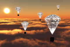 Hot-air μπαλόνια διαμαντιών στο λυκόφως Στοκ φωτογραφία με δικαίωμα ελεύθερης χρήσης