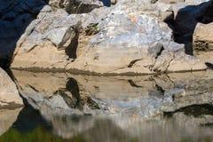Μια πέτρα όπως έναν διάβολο κάτω από τη γέφυρα διαβόλων ` s στον ποταμό Arda και το βουνό Rhodopes, Βουλγαρία Στοκ φωτογραφία με δικαίωμα ελεύθερης χρήσης