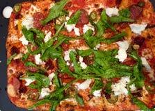 Μια πίτσα με τα καλύμματα Στοκ εικόνες με δικαίωμα ελεύθερης χρήσης