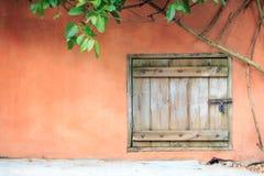 Μια παλαιά ξύλινη πόρτα με τον τοίχο και τον κισσό τσιμέντου στοκ φωτογραφίες με δικαίωμα ελεύθερης χρήσης