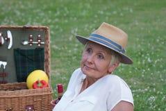 Μια πανέμορφη ημέρα πικ-νίκ, σκέφτεται αυτήν την ελκυστική γυναίκα Στοκ Εικόνα