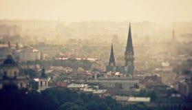 Μια πανοραμική άποψη της δυτικής ουκρανικής πόλης Lviv - της ΟΥΚΡΑΝΙΑΣ - LVIV στοκ εικόνες