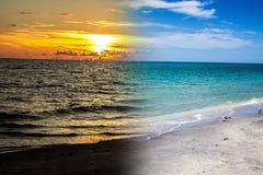 Μια παραλία της Φλώριδας στην ημέρα/το ηλιοβασίλεμα στοκ εικόνες