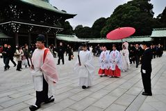Μια παραδοσιακή ιαπωνική γαμήλια τελετή Στοκ Φωτογραφία