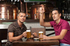 Μια περισσότερη μπύρα παρακαλώ! Δύο φίλοι που πίνουν την μπύρα στο μπαρ ενώ Στοκ φωτογραφία με δικαίωμα ελεύθερης χρήσης