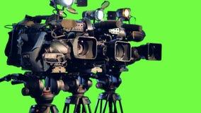 Μια πλάγια όψη σχετικά με τρία επαγγελματικά βιντεοκάμερα απόθεμα βίντεο