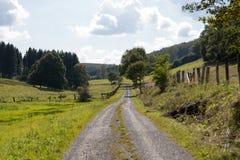 Μια πορεία σε ένα αγροτικό τοπίο με τα λιβάδια στη Γερμανία Στοκ φωτογραφία με δικαίωμα ελεύθερης χρήσης