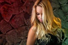 Μια προκλητική νέα γυναίκα με τα χαλαρά μακριά ξανθά μαλλιά Στοκ Φωτογραφίες