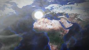 Μια πυρηνική βόμβα πηγαίνει μακριά όπως βλέπει από μια εναέρια διαστημική άποψη κηφήνων - Ισπανία - ευγένεια εικόνας της NASA διανυσματική απεικόνιση