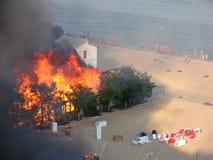Μια πυρκαγιά σε ένα στρατόπεδο υπολοίπου κοντά στην Οδησσός στοκ εικόνα