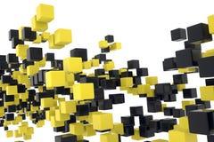 Μαύροι και κίτρινοι κύβοι Στοκ εικόνα με δικαίωμα ελεύθερης χρήσης