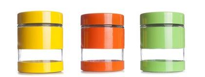 Μια σειρά του κενού βάζου καρυκευμάτων που απομονώνεται σε ένα άσπρο υπόβαθρο Στοκ εικόνες με δικαίωμα ελεύθερης χρήσης
