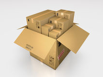 Μια σειρά τρισδιάστατης απεικόνισης κουτιών από χαρτόνι Στοκ Εικόνες