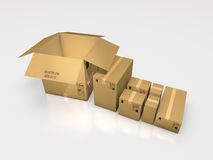 Μια σειρά τρισδιάστατης απεικόνισης κουτιών από χαρτόνι Στοκ φωτογραφία με δικαίωμα ελεύθερης χρήσης