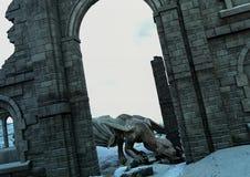 Μια σκηνή με την είσοδο του κάστρου καταστροφών ένας τεράστιος δράκος ελεύθερη απεικόνιση δικαιώματος