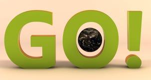 Μια σκηνή με τη λέξη ΠΗΓΑΙΝΕΙ με το γήινο πλανήτη σε το σε σταθερές βάσεις χρώματος ελεύθερη απεικόνιση δικαιώματος