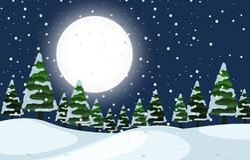Μια σκηνή χειμερινής υπαίθρια νύχτας ελεύθερη απεικόνιση δικαιώματος