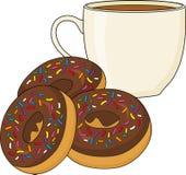 Μια σοκολάτα πάγωσε doughnut ή doughnut και ένα καυτό φλυτζάνι του φρέσκου καφέ ή του τσαγιού Απεικόνιση ράστερ που απομονώνεται  ελεύθερη απεικόνιση δικαιώματος