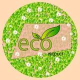 Μια στρογγυλή μορφή των φύλλων και chamomiles με το προϊόν eco επιγραφής σε ένα ελαφρύ υπόβαθρο Λογότυπο Eco, έμβλημα διανυσματική απεικόνιση