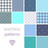 Μια συλλογή των εκλεκτής ποιότητας άνευ ραφής σχεδίων με τους κύκλους και κεντημένος με τα διαμάντια διανυσματική απεικόνιση