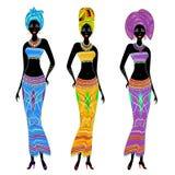 Μια συλλογή των όμορφων κυριών αφροαμερικάνων Τα κορίτσια έχουν τα φωτεινά ενδύματα, ένα τουρμπάνι στα κεφάλια τους Οι γυναίκες ε απεικόνιση αποθεμάτων