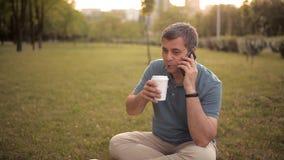 Μια συνεδρίαση ατόμων στο χορτοτάπητα σε ένα πράσινο πάρκο μια θερινή ημέρα στο ηλιοβασίλεμα που πίνει ένα ποτό και που μιλά στο  φιλμ μικρού μήκους