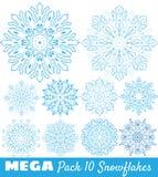Μια συλλογή μπλε snowflakes Στοκ Εικόνα