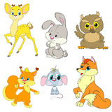 Μια συλλογή των δασικών ζώων χαρακτήρων Οι χαρακτήρες κινουμένων σχεδίων είναι ελάφια, κουνέλι, σκίουρος, ποντίκι, αλεπού, κουκου Στοκ εικόνες με δικαίωμα ελεύθερης χρήσης