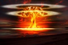 Μια σύγχρονη πυρηνική έκρηξη βομβών ελεύθερη απεικόνιση δικαιώματος