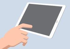 Μια ταμπλέτα αφής χεριών - διανυσματική απεικόνιση Στοκ εικόνα με δικαίωμα ελεύθερης χρήσης