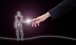 Μια τεχνητή νοημοσύνη, μια μελλοντικές τεχνολογία και μια έννοια επικοινωνίας στοκ φωτογραφία με δικαίωμα ελεύθερης χρήσης