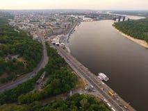 Μια τοπ άποψη της πόλης, ποταμός Dnipro, κεντρικός σταθμός ποταμών Στοκ Εικόνα