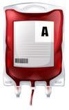 Μια τσάντα αίματος με το αίμα τύπων Α απεικόνιση αποθεμάτων