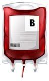 Μια τσάντα αίματος με το αίμα τύπων Β διανυσματική απεικόνιση