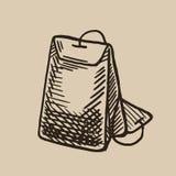 Μια τσάντα τσαγιού της χάραξης Πρωί θέρμανσης Διανυσματική απεικόνιση στο ύφος σκίτσων Διανυσματική απεικόνιση