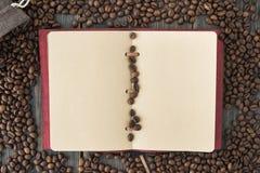 Μια τσάντα των ψημένων arabica φασολιών καφέ και μιας ελαφριάς σημείωσης εγγράφου Στοκ Φωτογραφία