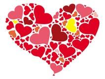 Μια τυποποιημένη καρδιά που χρωματίζεται από τις μικρές καρδιές Στοκ Φωτογραφίες