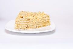 Μια φέτα της πίτας της Apple στο άσπρο υπόβαθρο Στοκ Εικόνες