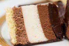 Μια φέτα του κέικ σοκολάτας, μακροεντολή Στοκ Φωτογραφία