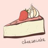 Μια φέτα cheesecake φραουλών διανυσματική απεικόνιση