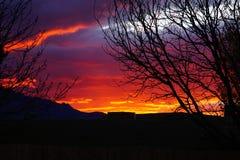 Μια φωτεινή κόκκινη ανατολή στο Νέο Μεξικό στοκ εικόνες
