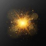 Μια φωτεινή χρυσή λάμψη με τη μαγική σκόνη είναι απομονωμένη σε ένα διαφανές υπόβαθρο Πυρκαγιά Χριστουγέννων Λάμψη, κυριώτερο σημ ελεύθερη απεικόνιση δικαιώματος