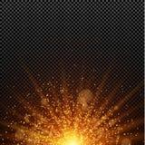 Μια φωτεινή χρυσή πυράκτωση abstract christmas lights Χρυσός backlight Πορτοκαλιές ακτίνες του φωτός Το μεγάλο αστέρι Στοκ Εικόνα