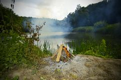 Μια φωτιά σε ένα δάσος κοντά σε μια όμορφη λίμνη ελεύθερη απεικόνιση δικαιώματος