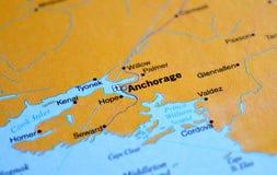 Μια φωτογραφία του Anchorage σε έναν χάρτη στοκ φωτογραφίες με δικαίωμα ελεύθερης χρήσης
